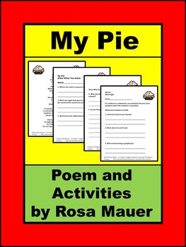 My Pie Poem Comprehension and Writing Activity