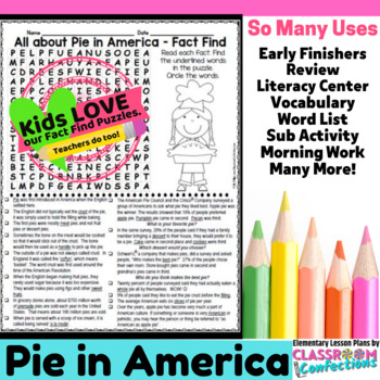 Pie Activity Word Search Fun To Use With Pi Day Activities Tpt