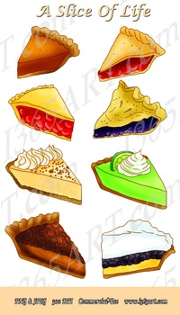 Pie Slices Dessert Digital Graphics Clipart Set 8 Images In all