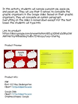 Pie Tasting Opinion Writing *Digital Resource*