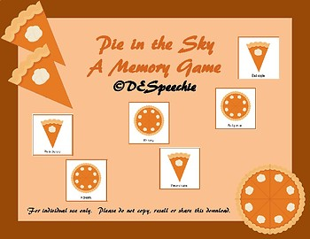 Pie in the Sky- Idioms Memory Game
