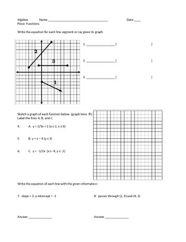 Piece Functions Linear Programming Worksheets Project