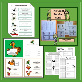 Solving Equations Graphing Functions Fun Activities Bundle 8.EE.7  8.F.3