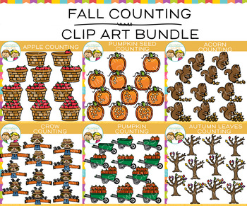 Pieces of Fall Counting Clip Art Bundle