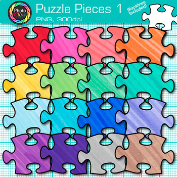 Pieces of Puzzle Clip Art {Brain Teasers, Geometry Games & Logic Puzzles} 1