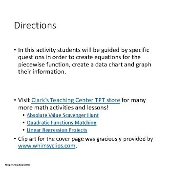 Piecewise Functions Activity
