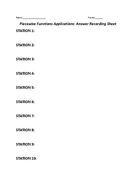 Piecewise Functions Applications Activity