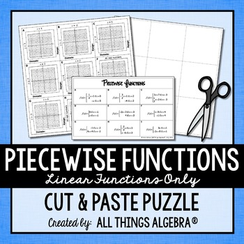 Piecewise Functions Cut and Paste Puzzle (Linear Functions only)