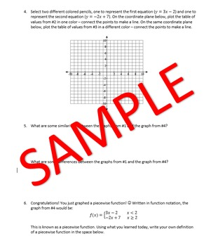Piecewise Functions Discovery Activity