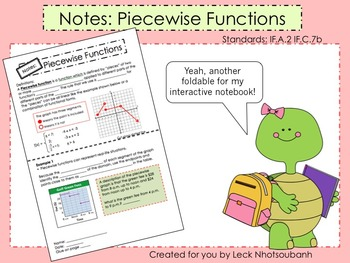 Piecewise Functions Foldable for Interactive Notebooks