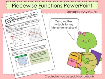 Piecewise Functions Foldable for Interactive Notebooks PowerPoint