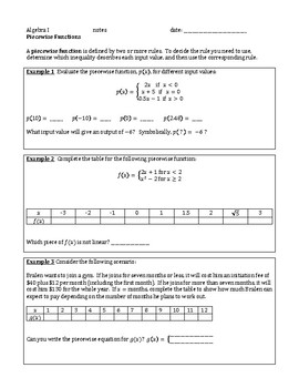 Piecewise Functions Guided Notes AND Assignment (algebra)