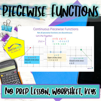 Piecewise Functions Powerpoint Lesson with Worksheet and Key