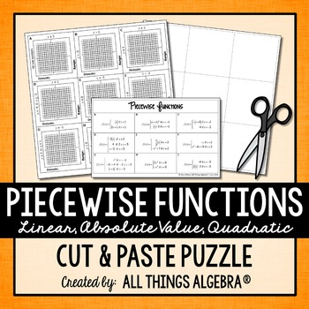 Piecewise Functions Puzzle (Linear, Absolute Value, & Quad