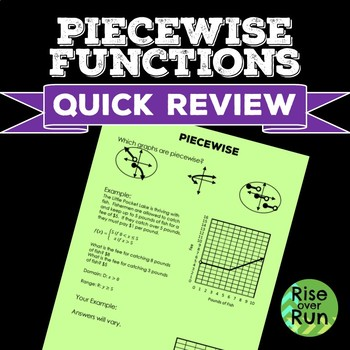 Piecewise Functions Quick Review Assessment, FREE