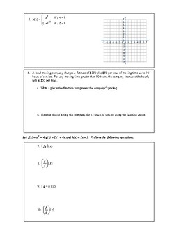 Piecewise Functions and Operations with Functions