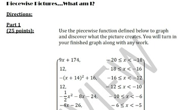 Piecewise Pictures - Graphing and Creating Piecewise Functions