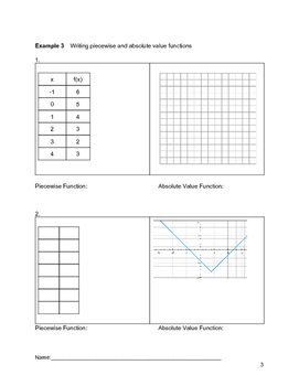 Piecewise and Absolute Value Functions Complete Bundled Unit