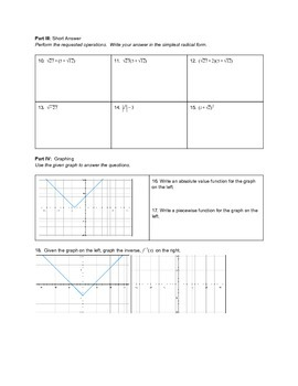 Piecewise and Absolute Value Functions Unit Test Version A