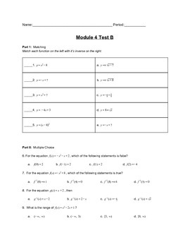 Piecewise and Absolute Value Functions Unit Test Version B