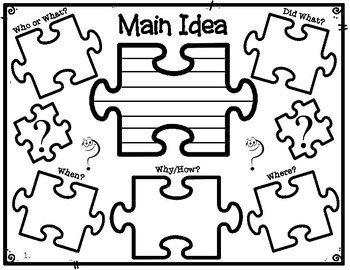 Piecing Together the Main Idea 5 W's Puzzle Pieces Graphic Organizer