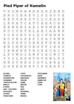 Pied Piper of Hamelin Word Search