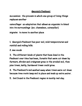 Piedmont and Wetlands Study Guide 3rd Grade Science