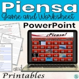 Preterit Tense Question Answer Piensa Game