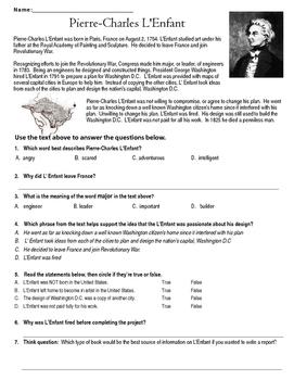 Pierre-Charles L'Enfant Reading Comprehension Worksheet TEKS 3.1 (B)