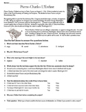 Pierre-Charles L'Enfant Reading Comprehension Worksheet TE