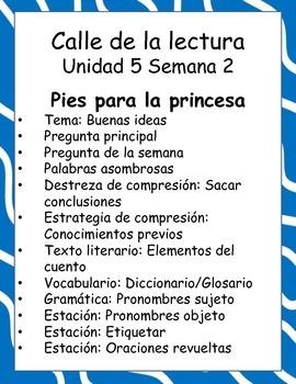 Pies para la princesa -Calle de la lectura- Unit 5 Week 2
