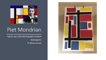 Piet Mondrian Kindergarten art work project biography step by step kids lesson