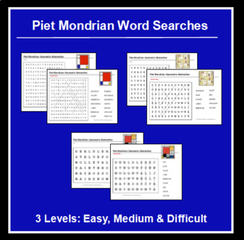 Piet Mondrian Word Searches