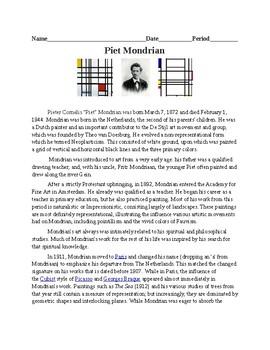 Piet Mondrian Worksheet