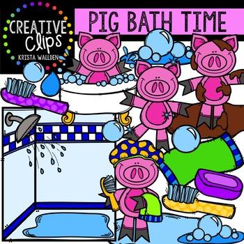Pig Bath Time {Creative Clips Digital Clipart}