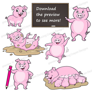 Pig Clip Art | Pig with signs