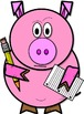 Pig Clip Art // Preston the Pig: Holding Pencil and Paper (Color and B&W)
