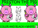 Pig Clip Art // Preston the Pig: Holding Pencil and Paper