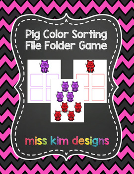 Pig Color Sorting Folder Game for Early Childhood Special