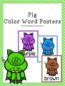 Pig Color Word Posters