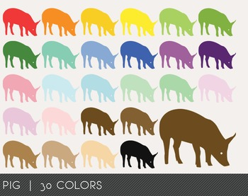 Pig Digital Clipart, Pig Graphics, Pig PNG, Rainbow Pig Digital Files
