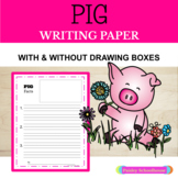 Pig (Farm) Primary Writing Paper With Drawing Boxes & Without