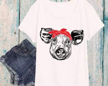 Pig Head whit Bandana SVG cut layer feet pigs western Farm 899S