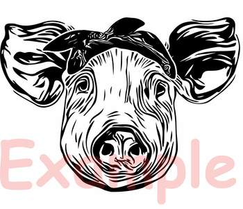 Pig Head Whit Bandana Svg Cut Layer Feet Pigs Western Farm 899s By Hamhamart