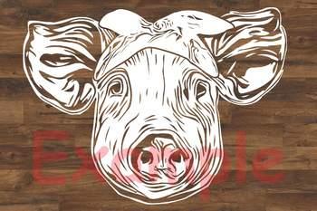 Pig Head whit Bandana SVG cut layer feet pigs western Farm 903S