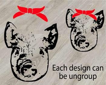Pig Head Whit Bandana Silhouette Svg Clipart Cut Feet Pigs Western Farm 825s