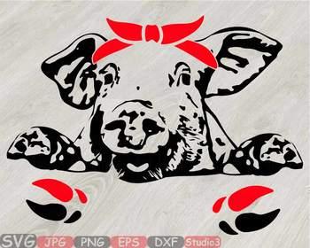 Pig Head Whit Bandana Silhouette Svg Clipart Feet Pigs Western Farm 800s