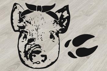 Pig Head whit Bandana Silhouette SVG clipart feet pigs western Farm 803S