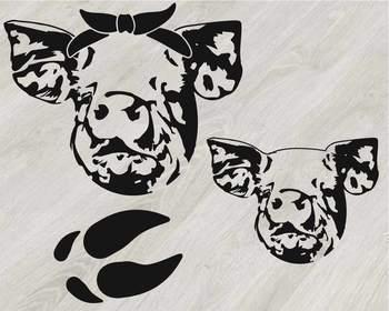 Pig Head whit Bandana Silhouette SVG clipart feet pigs western Farm 804S