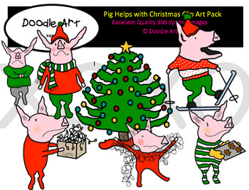 Pig Helps with Christmas Clipart Pack